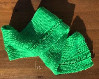 Hand knit single drop scarf