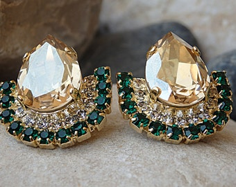 Champagne crystal earrings. Wedding jewelry. Swarovski crystal large stud earrings. Cluster earrings for bridal. Emerald champagne earrings