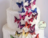 """28 rainbow edible butterflies for cake and cupcake toppers 1.5"""" wafer paper butterflies. Enchanted garden birthday, butterfly wedding cakes."""