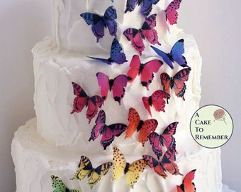 "28 rainbow edible butterflies, 1.5"" wafer paper butterflies for edible cake decorations. Rustic cake topper for butterfly wedding cakes."