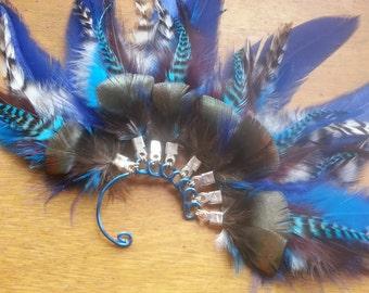 Blue Feather Ear Cuff - Ice