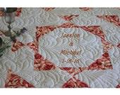 Wedding Quilt. Signature Quilt. Cancer Quilt. Anniversary Gift.  Engagement. Birthday gift. Retirement gift. Memory Quilt.