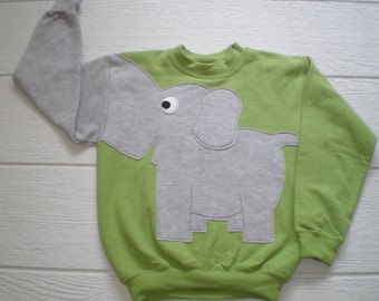 Kiwi green Childrens Elephant Trunk sleeve sweatshirt,  sweater, elephant jumper, KIDS small, medium, large, Special Deal