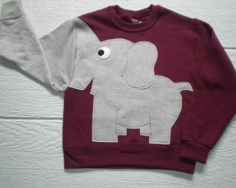 Burgundy Childrens Elephant Trunk sleeve sweatshirt,  sweater, elephant jumper, KIDS medium only