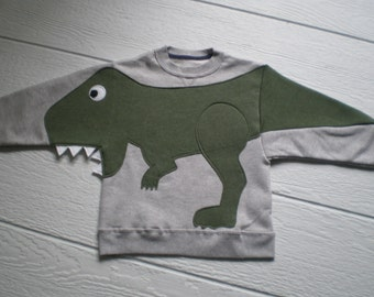 Kids T REX DINOSAUR applique sweatshirt with open mouth CUSTOM to your size