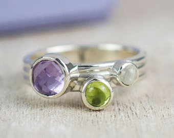 Moonstone ring - Mothers ring - Amethyst ring - sterling silver ring - stackable mothers ring - gifts for her - gifts for mothers day