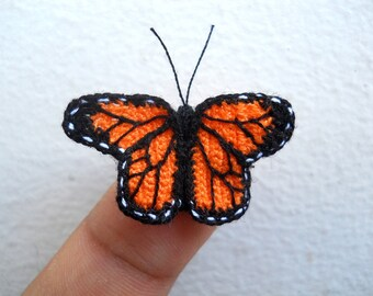 Miniature Monarch butterfly - Micro Crochet Amigurumi Stuffed Animal - Made To Order