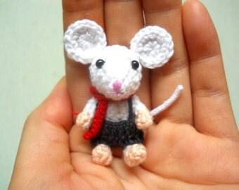 Tiny Crochet Mouse Boy - Amigurumi Miniature Stuffed Animals - Made To Order