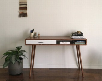 Mid Century Desk with Drawer Solid Wood