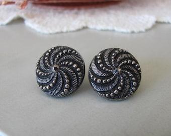 Art Deco Earrings, Vintage Lucite, Marcasite Look, Pierced Earrings