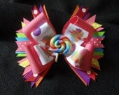 Candyland hairbow, large 5 inch bow