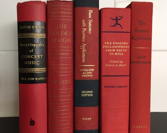 Vintage book lot cherry red five book set colorful display