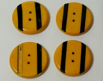 Vintage Bakelite buttons gold/butterscotch,with black stripes, vintage sewing, accessory