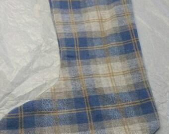 Plaid wool Christmas Stocking