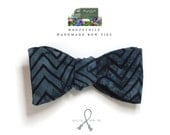 bow tie - slate  blue and black, hand printed batik cotton fabric, self tie - freestyle for men from Bagzetoile.