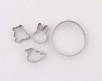 4 pieces Stainless Steel Cookie Cutter Set. Bird, bear, bunny, Round Biscuit Cutter