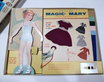 Magic Mary Dress Designers Kit - Vintage Girl Toy - Milton Bradley - Dress Maker Kit