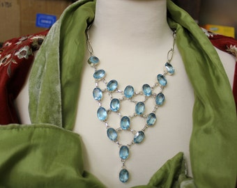 Blue topaz silver necklace, chandelier, choker, collar, intricate