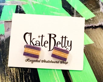 Stud Earrings Recycled Skateboard Purple and Natural Maple Wood