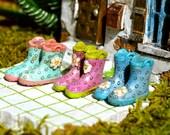 Miniature Rain Boots ~ Fairy Garden Boots ~ Miniature Boots ~ Fairy Garden Miniatures ~ Tiny Boots ~ Dollhouse Mini ~ Fairy Garden Supplies