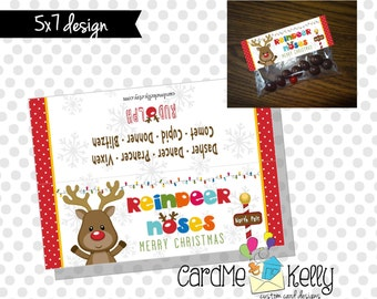 INSTANT DOWNLOAD Printable Christmas Reindeer Rudolph Noses Treat bag Toppers Labels
