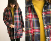 VTG Plaid Button Up Coat / 90s Grunge Flannel Jacket / Overcoat Button Down Cardigan / Buttoned  / Red Green Pea coat / Mod Checkered