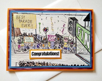 Running Congratulations Handmade Greeting Card - Best Parade Ever - Congrats Card for 26.2 Marathon, 13.1 Half-marathon, Runners, Walkers
