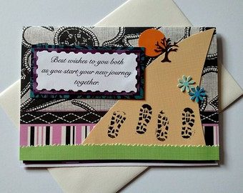 Congratulations Running Wedding or Engagement Handmade Greeting Card - Best Wishes on the Journey Together for the runners couple, marriage
