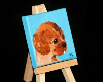 Custom Pet Portrait Painting on Miniature Canvas - Art Magnet