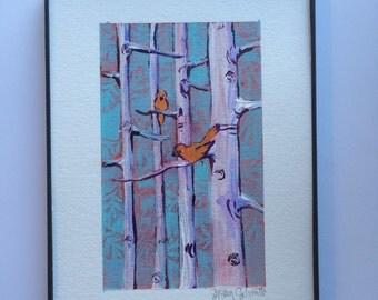 Birds in Aspen Trees painting