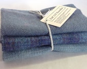Blue on Blue, Wool fabric for Rug Hooking and Applique, 3) Fat 1/8ths, W209, Periwinkle, Sky Blue, Water Blue