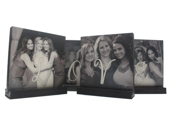 PHOTO GIFTS-Personalized Wooden Photo Block Gifts- spell out LOVE - Custom Photo Displays-Great Valentines Day Gifts