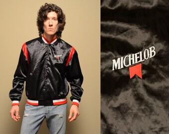 vintage 80s Michelob baseball jacket satin bomber jacket racing jacket beer drinking black satin bomber medium M large L