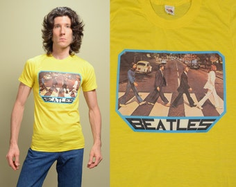 vintage Beatles t-shirt 70s Abbey Road tee shirt 1976 Quantum 50-50 Fruit of the Loom Golden soft thin burnout 1970 small slim S XS