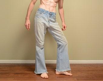 vintage 60s 70s Farah jeans bellbottom flare busted distressed destroyed denim frayed ripped torn 1960 1970 34 34x31