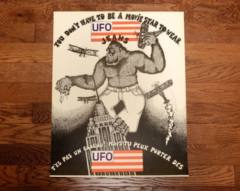 vintage 70s UFO Jeans poster King Kong Empire State Building 1970 fashion advertising promo Italy black white red 22''x26'' denim