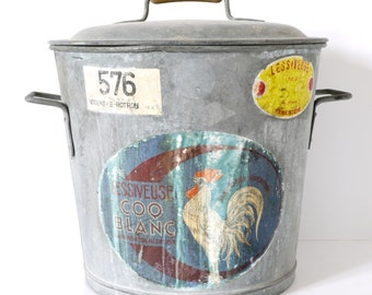 French Vintage Metal Bucket galvanised metal Zinc bucket Xtra Large with Cover