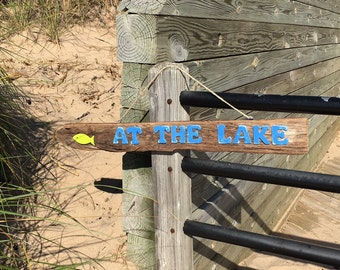 Driftwood Sign AT THE LAKE Beach Decor Nautical Driftwood Decor // Nautical Decor // Coastal Decor //