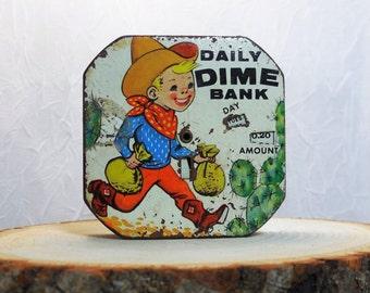 Daily Dime Bank, Buckaroo Cowboy, Coin Bank, Tin Lithograph, Vintage, Mid-Century, Saving Money, Daily Banking, 1950's