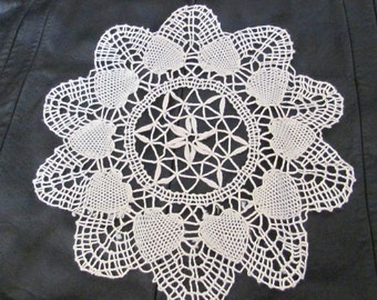"""Pretty Vintage Linen Crocheted Round Doily 9.5"""" Inches - #2A"""