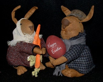 Primitive Folk Art Soft Sculpture Dolls Easter Rabbits with Carrots and a Egg
