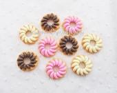 3pcs - Large Icing Cruller Doughnut Mix Donuts Decoden Cabochon (39x13mm) DNT008