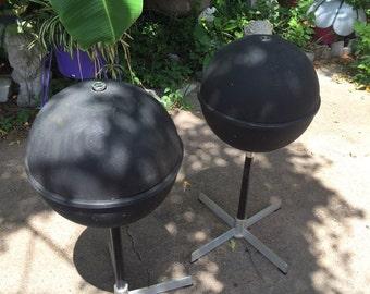 JVC  Globe Speakers Nivico Model 5303 Run N0.2  Baffle PAIR & Stands Made in Japan Sphere Ball Mid-century Modern