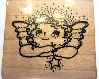 Angel Wishing Upon A Star Rubber Stamp Wooden