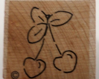 Cherries On A Stem Food Fruit Wooden Rubber Stamp