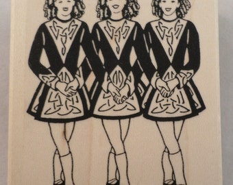 Celtic Rubber Stamp Irish Dancer 3 Girls With Ghillies Wooden Rubber Stamp E-471
