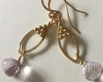 Gold-filled wire wrapped pink amethyst earrings with gold-filled beads