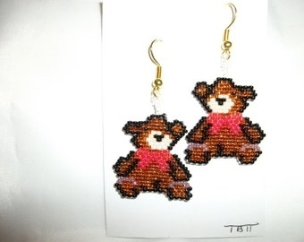 Xmas Teddy Bear Earrings
