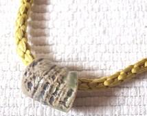 One Of a Kind Necklace, Raku bead Silk necklace, Kumihimo jewelry, OAK recycled obijime neck piece, Summery Lime Yellow, Lakimonoya