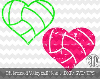 Volleyball Heart Distressed INSTANT DOWNLOAD in dxf/svg/eps for use with programs such as Silhouette Studio and Cricut Design Space